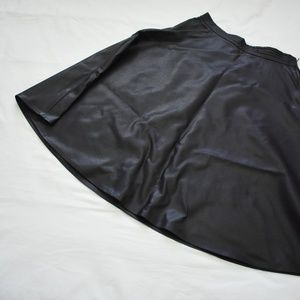Black Midi A-Line Skirt